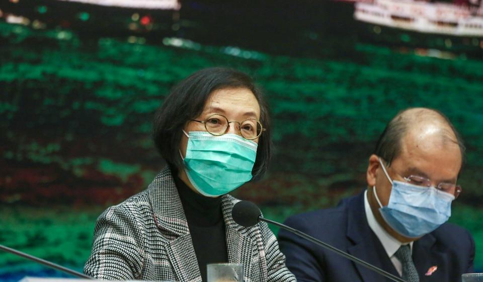 Health minister Sophia Chan (left) and No 2 official Matthew Cheung meet the press at an earlier event. Photo: Jonathan Wong