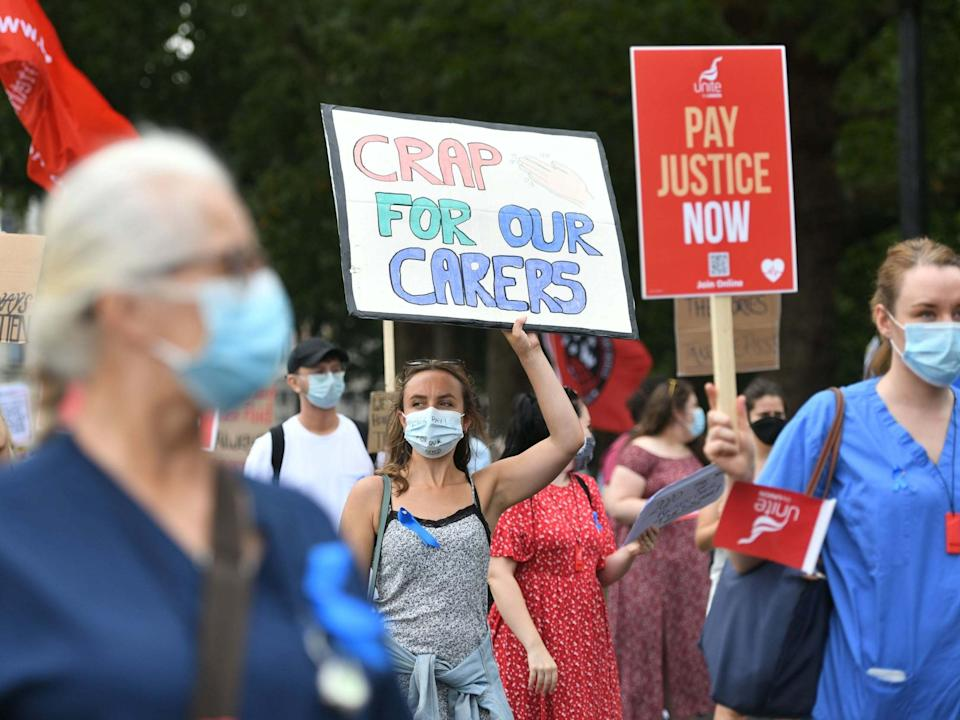 NHS workers in St James's Park, London, during their demonstration as part of a national protest over pay: PA