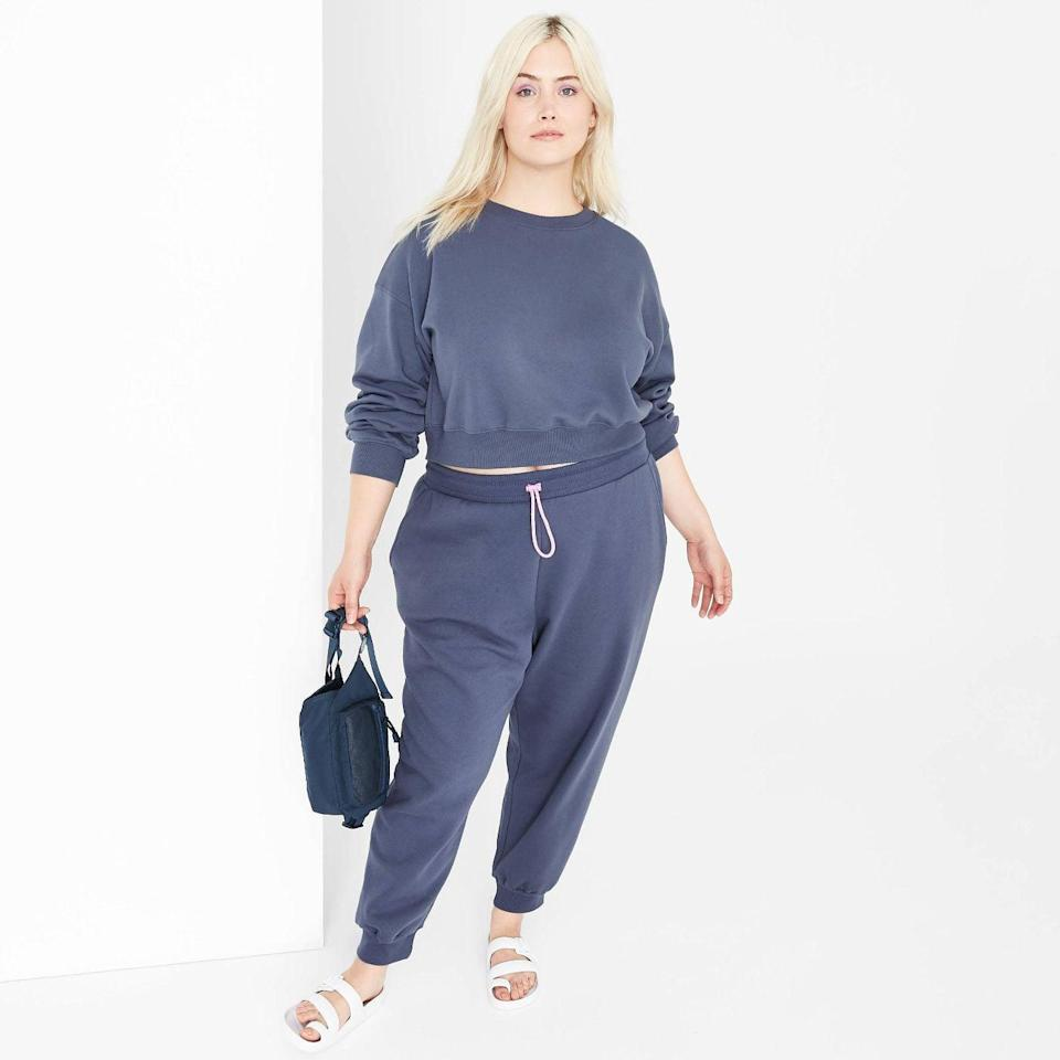 <p><span>Wild Fable Cropped Sweatshirt</span> ($20) and <span>High-Rise Jogger Sweatpants</span> ($20)</p>