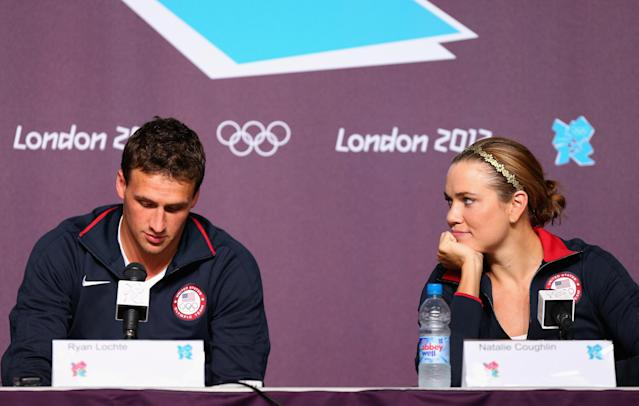 LONDON, ENGLAND - JULY 26: Ryan Lochte (L) and Natalie Coughlin (R) of the USA Swim Team speak during a press conference at the Main Press Center on July 26, 2012 in London, England. (Photo by Ryan Pierse/Getty Images)