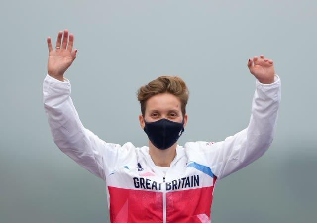 Great Britain's Crystal Lane-Wright celebrates silver in the women's C5 time trial