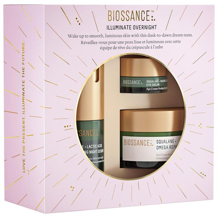 """<br><br><strong>Biossance</strong> Illuminate Overnight, $, available at <a href=""""https://go.skimresources.com/?id=30283X879131&url=https%3A%2F%2Fwww.sephora.com%2Fproduct%2Fbiossance-illuminate-overnight-P462661"""" rel=""""nofollow noopener"""" target=""""_blank"""" data-ylk=""""slk:Sephora"""" class=""""link rapid-noclick-resp"""">Sephora</a>"""