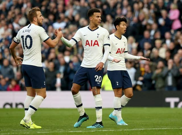 Dele Alli's (centre) late goal rescued a point for Tottenham in a 1-1 Premier League draw with winless Watford (Jonathan Brady/PA)