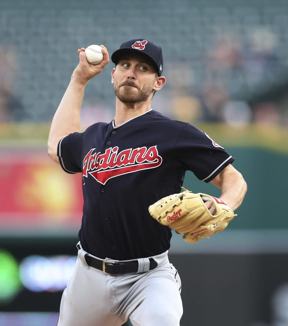 Cleveland Indians starting pitcher Josh Tomlin throws during the first inning of a baseball game against the Detroit Tigers, Tuesday, May 15, 2018, in Detroit. (AP Photo/Carlos Osorio)
