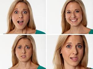 woman doing different facial expressions