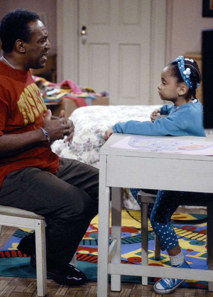 "THE COSBY SHOW -- ""And So, We Commence: Part 1 & 2"" Episode 24/25 -- Air Date Air Date 04/30/1992 -- Pictured: (l-r) Bill Cosby as Doctor Heathcliff 'Cliff' Huxtable, Raven-SymonT as Olivia Kendall  (Photo by NBC/NBCU Photo Bank via Getty Images)"