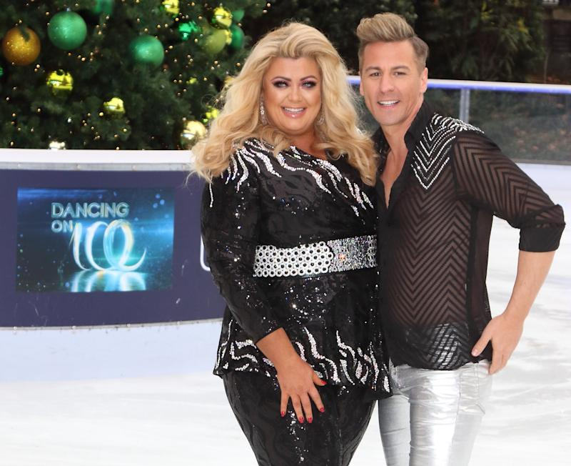 LONDON, -, UNITED KINGDOM - 2018/12/18: Gemma Collins and Matt Evers at the Dancing On Ice Launch Showcase at the Natural History Museum Ice Rink, Kensington,. (Photo by Keith Mayhew/SOPA Images/LightRocket via Getty Images)
