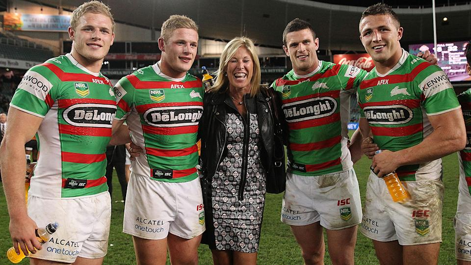 Sam Burgess, pictured here with his brothers and mother in 2013.