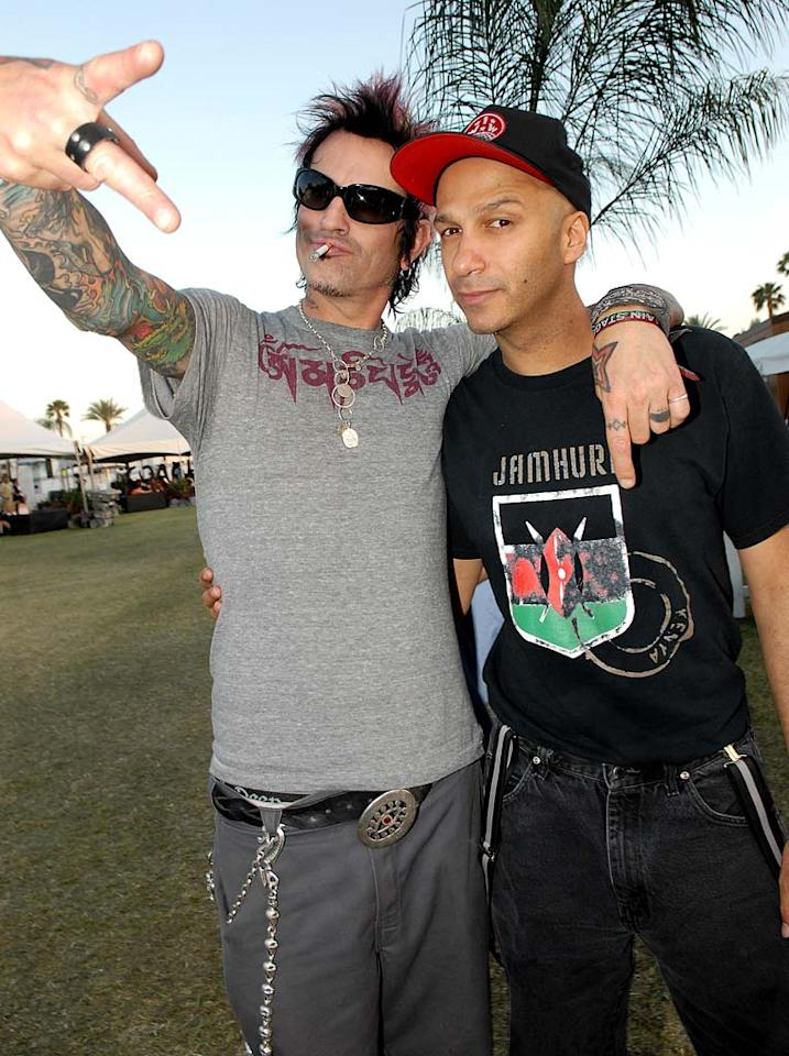 """Tommy Lee hangs with """"The Nightwatchman,"""" Tom Morello. Kevin Mazur/<a href=""""http://www.wireimage.com"""" target=""""new"""">WireImage.com</a> - April 28, 2007"""