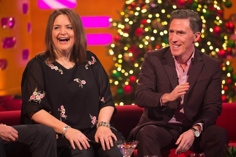 Ruth Jones and Rob Brydon during the filming for the Graham Norton Show at BBC Studioworks 6 Television Centre, Wood Lane, London, to be aired on BBC One on Friday evening. Picture date: Thursday December 19, 2019. Photo credit should read: PA Images on behalf of So TV (Photo by David Parry/PA Images via Getty Images)
