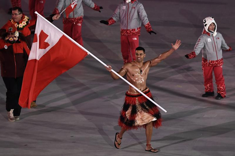 Tonga's Flag Bearer Wears Body Oil and No Shirt to the Pyeongchang Olympics Opening Ceremony