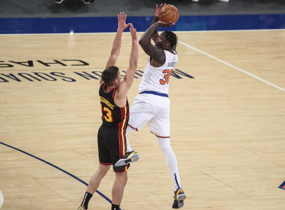 New York Knicks forward Julius Randle (30) against the Atlanta Hawks in overtime of an NBA basketball game Wednesday, April 21, 2021, in New York. (Wendell Cruz/Pool Photo via AP)