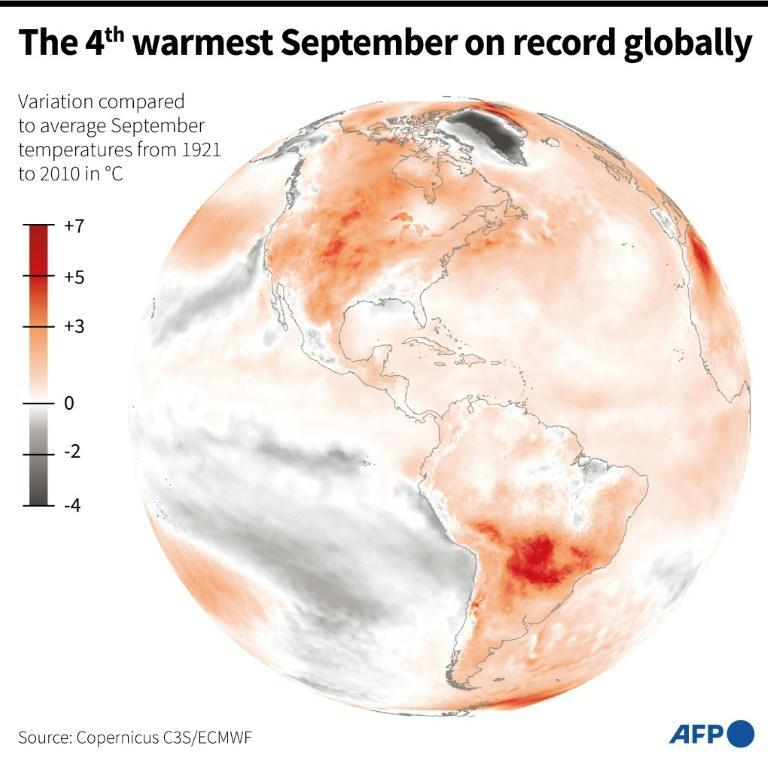 World map showing the difference between the temperature in September 2021, and the average for that month from 1981 to 2010, in °C (AFP/Simon MALFATTO)