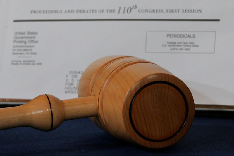 The gavel used by House Democratic leader Nancy Pelosi when she became the first female speaker of the U.S. House of Representatives. (Brian Snyder / Reuters)