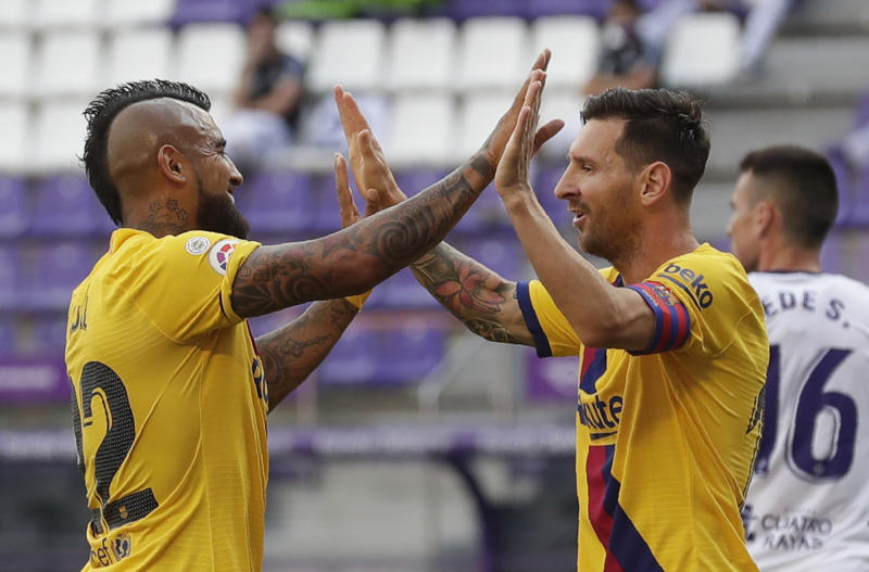 Lionel Messi made history with his assist to Arturo Vidal on Saturday. (AP Photo/Manu Fernandez)