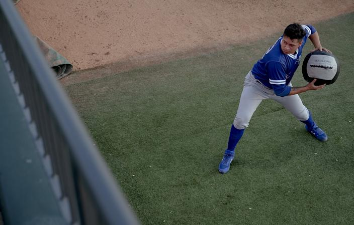 Victor González warms up in the bullpen before a game with Oklahoma City in August 2019.