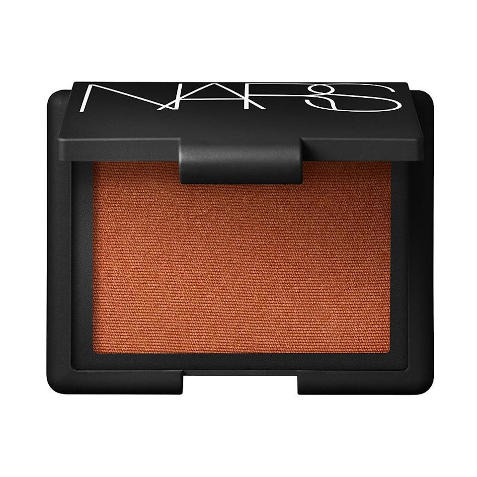 """<p><strong>Tangerine</strong></p> <p>Described as a """"burnished orange with golden shimmer,"""" Nars Blush in Taj Mahal is Merino's pick for those days you want to wear a statement on your cheeks. """"It's such a great color to add life to your look with minimal effort,"""" he says. So, if you're not feeling a whole face of makeup, you can let the blush speak for itself, and you'll still look refreshed for the whole day.</p> <p><strong>$30</strong> (<a href=""""https://shop-links.co/1719124087080110767"""" rel=""""nofollow noopener"""" target=""""_blank"""" data-ylk=""""slk:Shop Now"""" class=""""link rapid-noclick-resp"""">Shop Now</a>)</p>"""