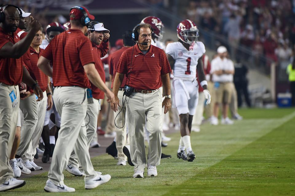 Alabama coach Nick Saban looks on from the sideline during a game between the Crimson Tide and the Texas A&M Aggies at Kyle Field on Oct. 9, 2021. (Ken Murray/Icon Sportswire via Getty Images)