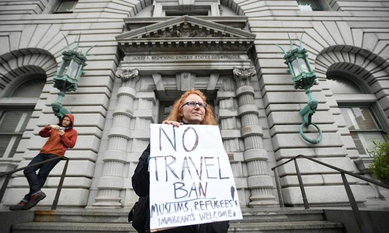 A protest against Trump's travel ban in San Francisco. Only 54% of those polled said they have 'positive views' of Muslims.
