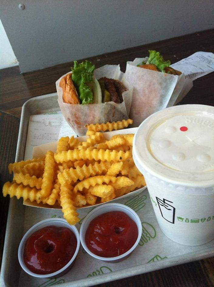 """<p><a href=""""https://www.shakeshack.com/location/miami-beach/"""" rel=""""nofollow noopener"""" target=""""_blank"""" data-ylk=""""slk:Shake Shack"""" class=""""link rapid-noclick-resp"""">Shake Shack</a>, Miami</p><p>""""Delicious burger, perfect fries and everything mixed with your favorite organic beer... SO GREAT! Save space for dessert!"""" -<a href=""""https://foursquare.com/marysc410"""" rel=""""nofollow noopener"""" target=""""_blank"""" data-ylk=""""slk:Mariesther Sifuentes"""" class=""""link rapid-noclick-resp"""">Mariesther Sifuentes</a></p>"""