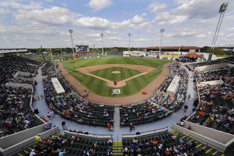 Fans watch the Houston Astros play the Detroit Tigers during the eighth inning of a spring training baseball game Monday, Feb. 24, 2020, in Lakeland, Fla. (AP Photo/Frank Franklin II)