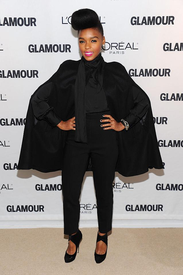 """Singer Janelle Monae showed off her sky-high signature 'do, which kinda resembles 9-year-old Willow Smith's famous locks. Time for a new look, Janelle? Dimitrios Kambouris/<a href=""""http://www.wireimage.com"""" target=""""new"""">WireImage.com</a> - November 8, 2010"""