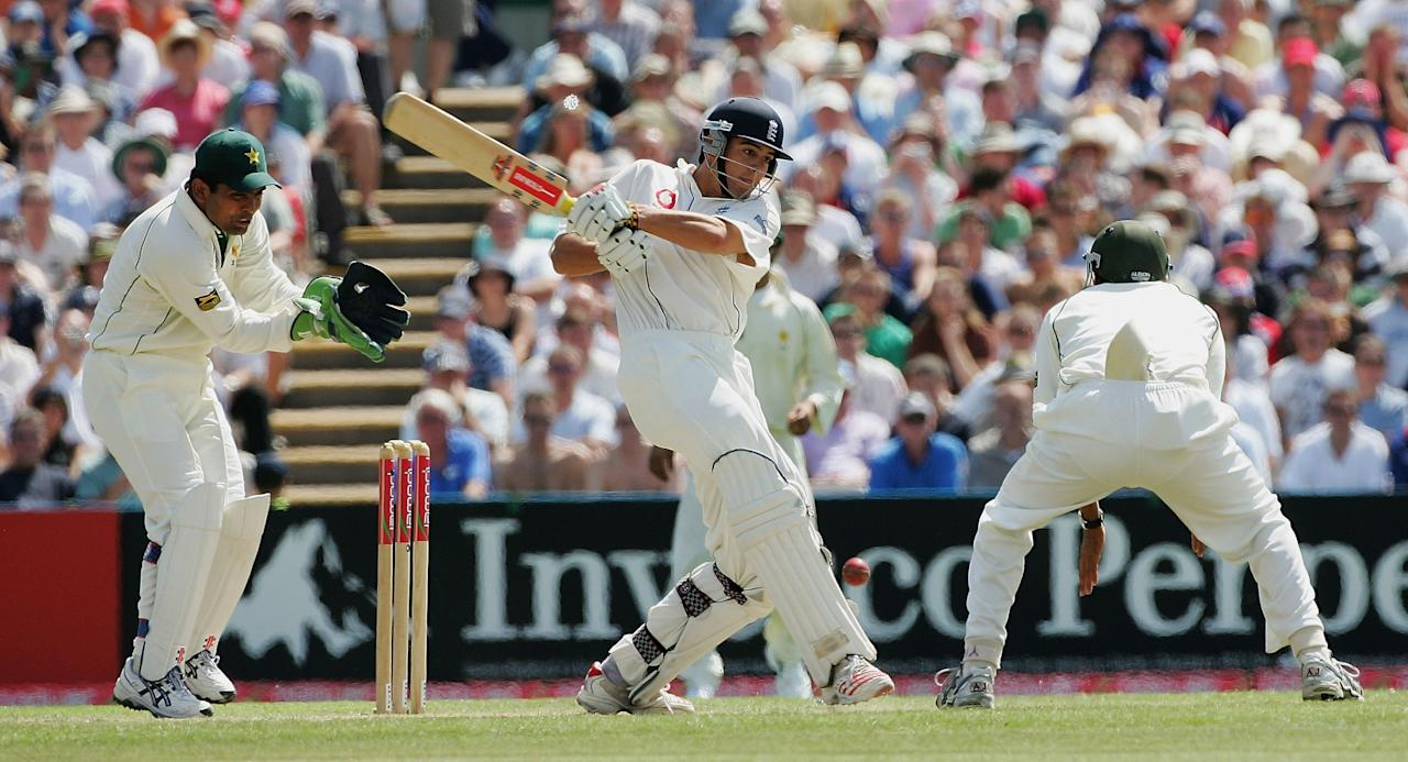MANCHESTER, UNITED KINGDOM - JULY 28:  Alastair Cook of England hits out during the second day's play of the second npower Test Match between England and Pakistan, at Old Trafford Cricket Ground on July 28, 2006 in Manchester, England,  (Photo by Laurence Griffiths/Getty Images)