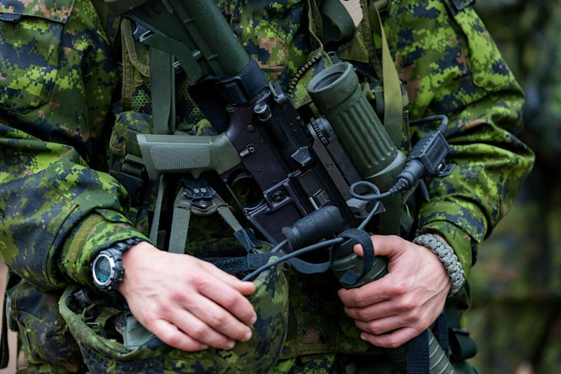 Member of the Canadian Armed Forces with a rifle during an Exercise in Petawawa, Ontario, Canada.