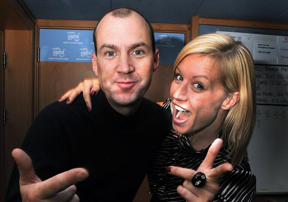 Johnny Vaughan and Denise Van Outen during her first Capital FM Breakfast Show (reprising the partnership with her former Big Breakfast colleague), at Capital Radio, in London.   (Photo by Joel Ryan - PA Images/PA Images via Getty Images)