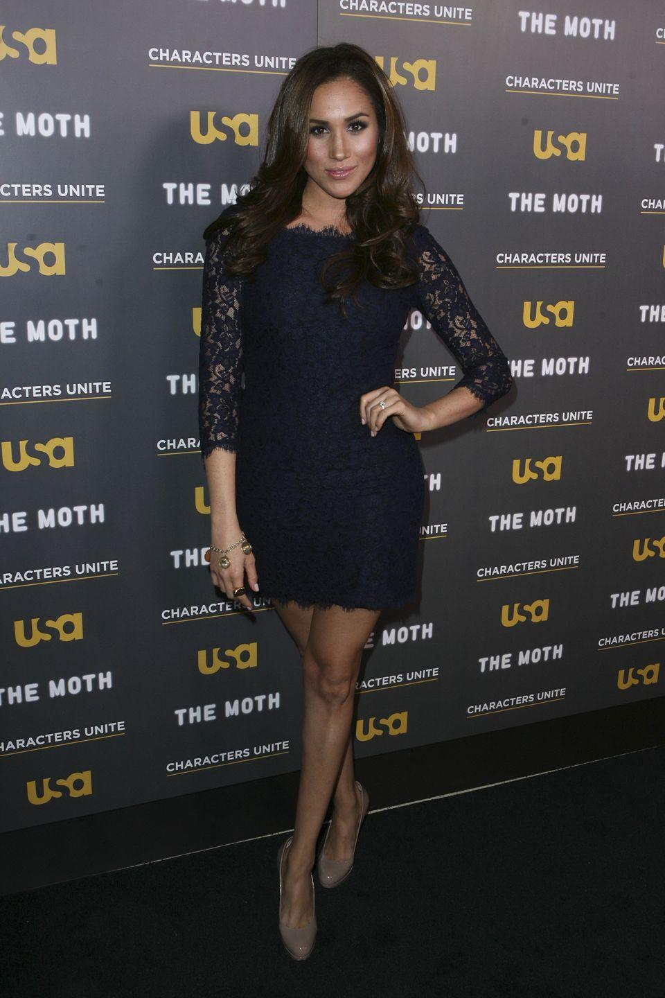 <p>The then-actress donned a classic black lace DvF minidress to an event in L.A.</p>