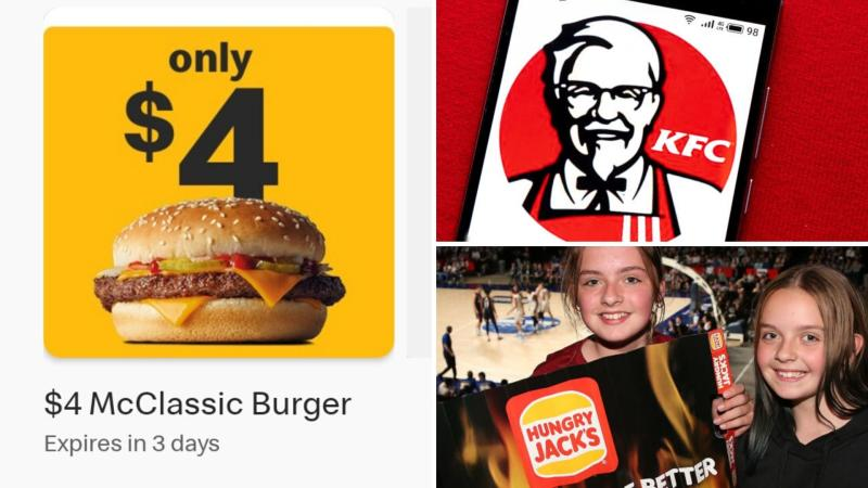 A McDonald's electronic voucher on the left, a smartphone showing the KFC logo in the upper right, and a girl holding up a Hungry Jack's poster.