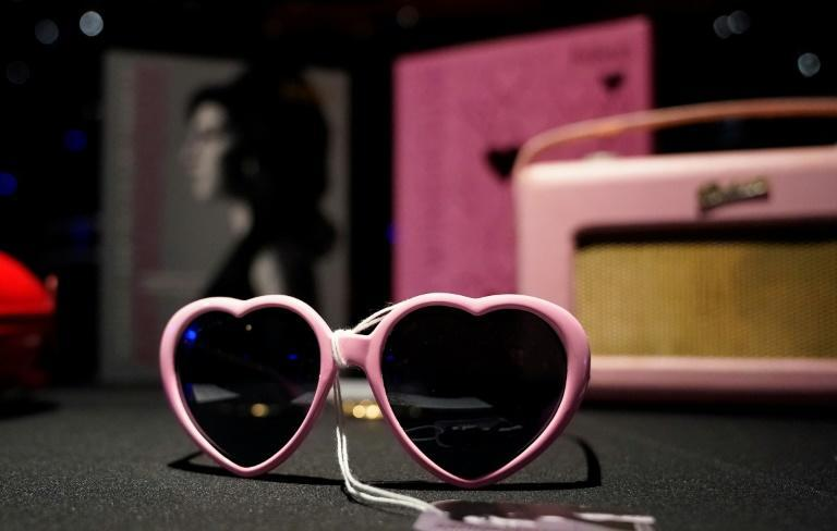 Heart-shaped sunglasses that belonged to Amy Winehouse were displayed in New York ahead of an auction of the star's personal effects in November (AFP/TIMOTHY A. CLARY)