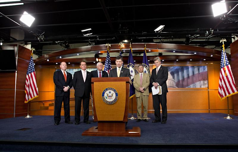 Republican Conference Chairman Rep. Jeb Hensarling, R-Texas, center at lectern, accompanied by fellow GOP lawmakers speak to reporters on Capitol Hill in Washington, Thursday, March 22, 2012, after the House voted along party lines to repeal a Medicare cost-control board that's part of President Barack Obama's health care overhaul law. From left are: Rep. Larry Bucshon, R-Ind., Rep. Phil Gingrey, R-Ga., Rep. Joe Pitts, R-Pa., Rep. Jeb Hensarling, R-Texas, Rep. Fred Upton, R-Mich., and Rep. Bill Cassidy, R-La. (AP Photo/J. Scott Applewhite)
