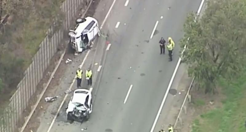 Smashed cars on Gympie Road in Bald Hills Queensland in crash that killed three people.