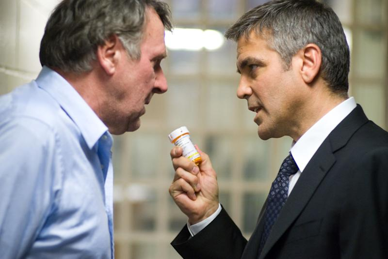 "FILE - In this photo released by Warner Bros. Pictures, Tom Wilkinson, left, as Arthur Edens and George Clooney as Michael Clayton are shown in a scene from ""Michael Clayton."" (AP Photo/Warner Bros. Pictures, Myles Aronowitz, file)"