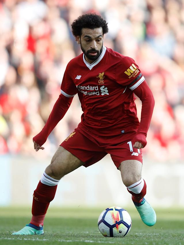 "Soccer Football - Premier League - Liverpool vs AFC Bournemouth - Anfield, Liverpool, Britain - April 14, 2018 Liverpool's Mohamed Salah in action Action Images via Reuters/Carl Recine EDITORIAL USE ONLY. No use with unauthorized audio, video, data, fixture lists, club/league logos or ""live"" services. Online in-match use limited to 75 images, no video emulation. No use in betting, games or single club/league/player publications. Please contact your account representative for further details."