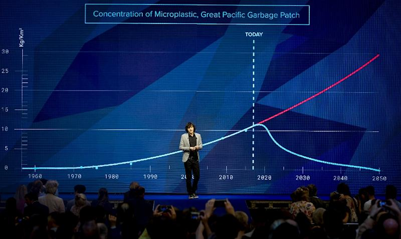 Dutch inventor Boyan Slat speaks during his presentation about the progress of The Ocean Cleanup, the foundation, who wants to do something about the huge amount of plastic surrounding the world sea with special cleaning ships, on May 11, 2017