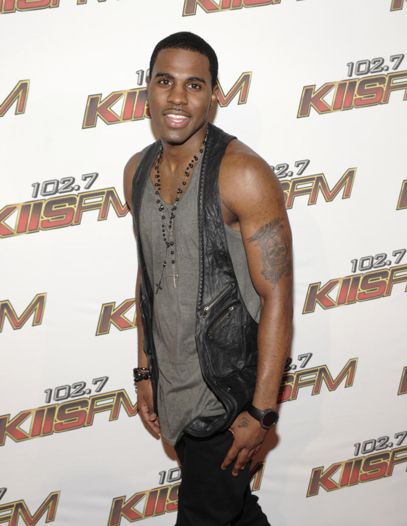 """FILE - In this May 14, 2011 file photo, singer Jason Derulo arrives at KIIS FM's Wango Tango in Los Angeles. Even though Jason Derulo's self-titled debut featured three multiplatinum hits, his album didn't even reach gold status. His sophomore release, """"Future History,"""" debuted at No. 29 on the Billboard charts last year. (AP Photo/Dan Steinberg, file)"""