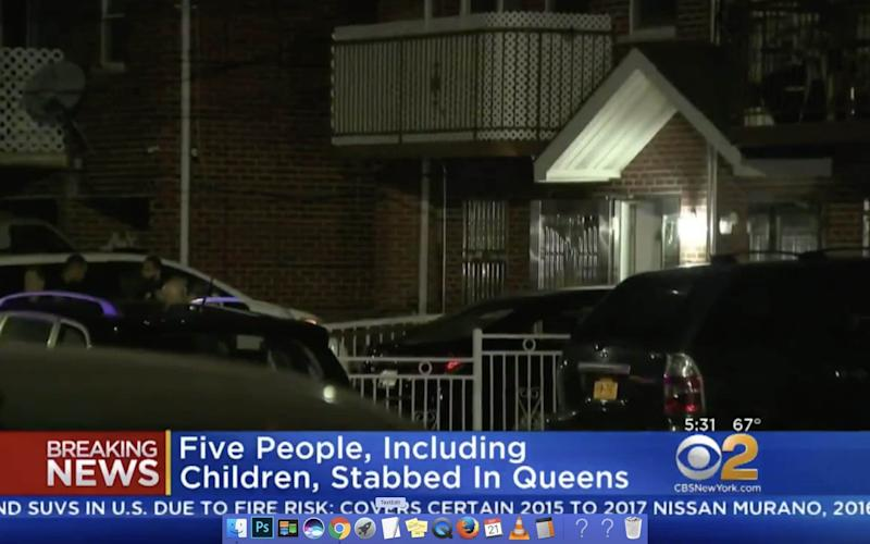 Five people have been slashed, including three infants, at a home operating as a daycare in Flushing, Queens, New York - Screengrab from video on CBS New York
