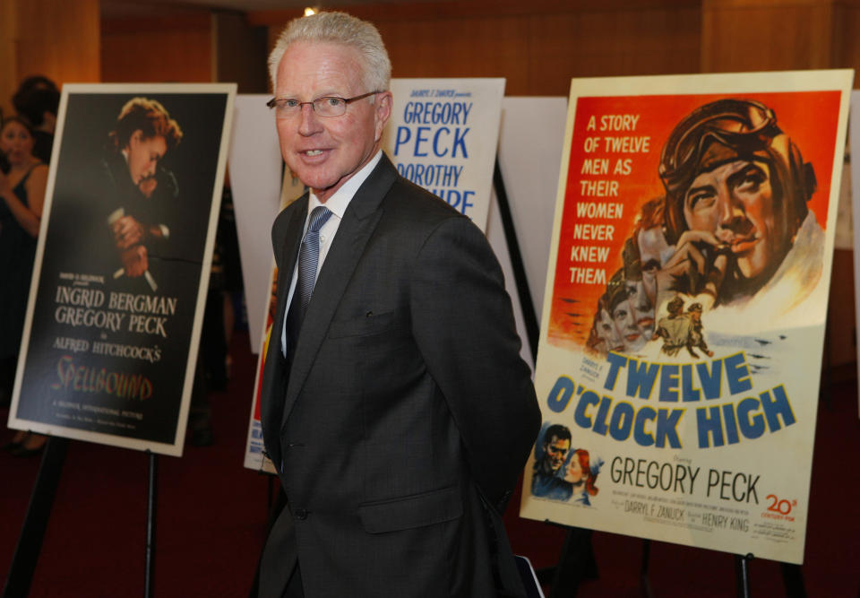 United States Postal Service Board of Governors member Dennis Toner arrives for a USPS first-day-of-issue dedication ceremony for the Gregory Peck forever stamp at the Academy of Motion Picture Arts and Sciences in Beverly Hills, Calif., Thursday, April 28, 2011. It features Peck as Atticus Finch in the 1962 film