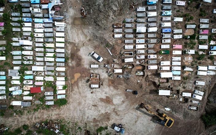 A picture taken with a drone of new graves construction in a pantheon in the Acapulco resort, Guerrero state, Mexico, 06 August 2021. The Ministry of Health of Mexico reported this 06 August 21,563 new confirmed infections of covid-19, for a total of 2,944,226 cases, in addition to 568 new deaths, reaching 243,733 deaths, in the middle of the third wave of the pandemic. Mexico reports 21,563 new infections, third highest number in the pandemic, Acapulco - - Shutterstock