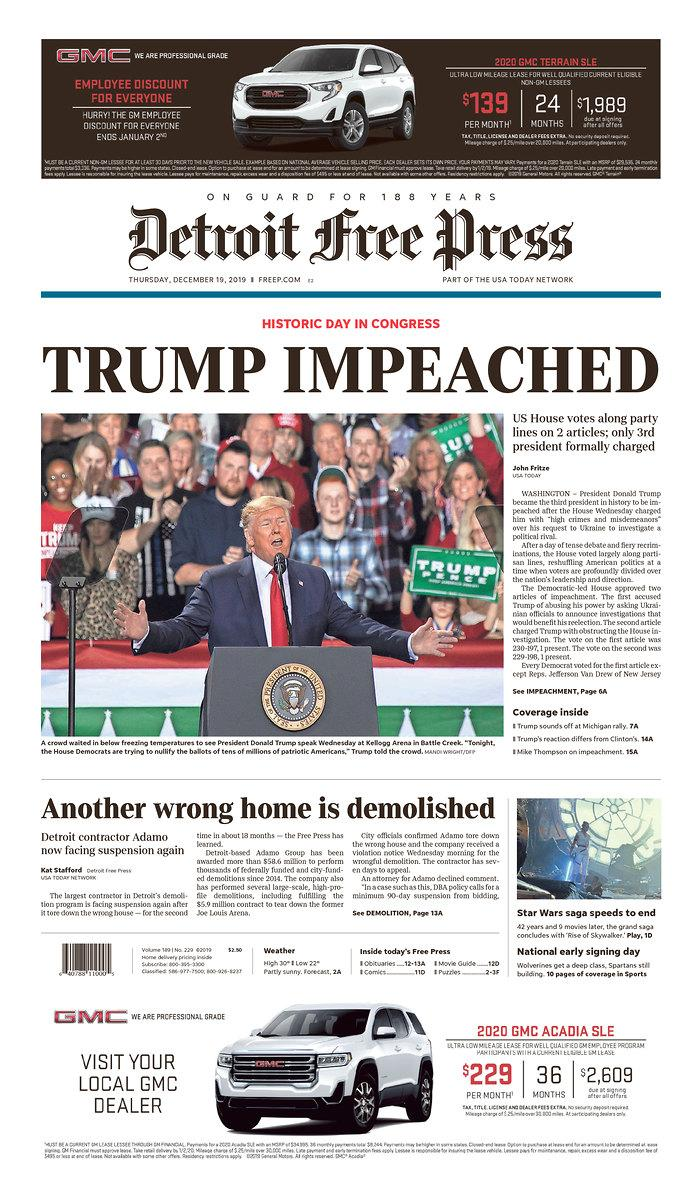 The front page of Thursday's Detroit Free Press. (Newseum.org)
