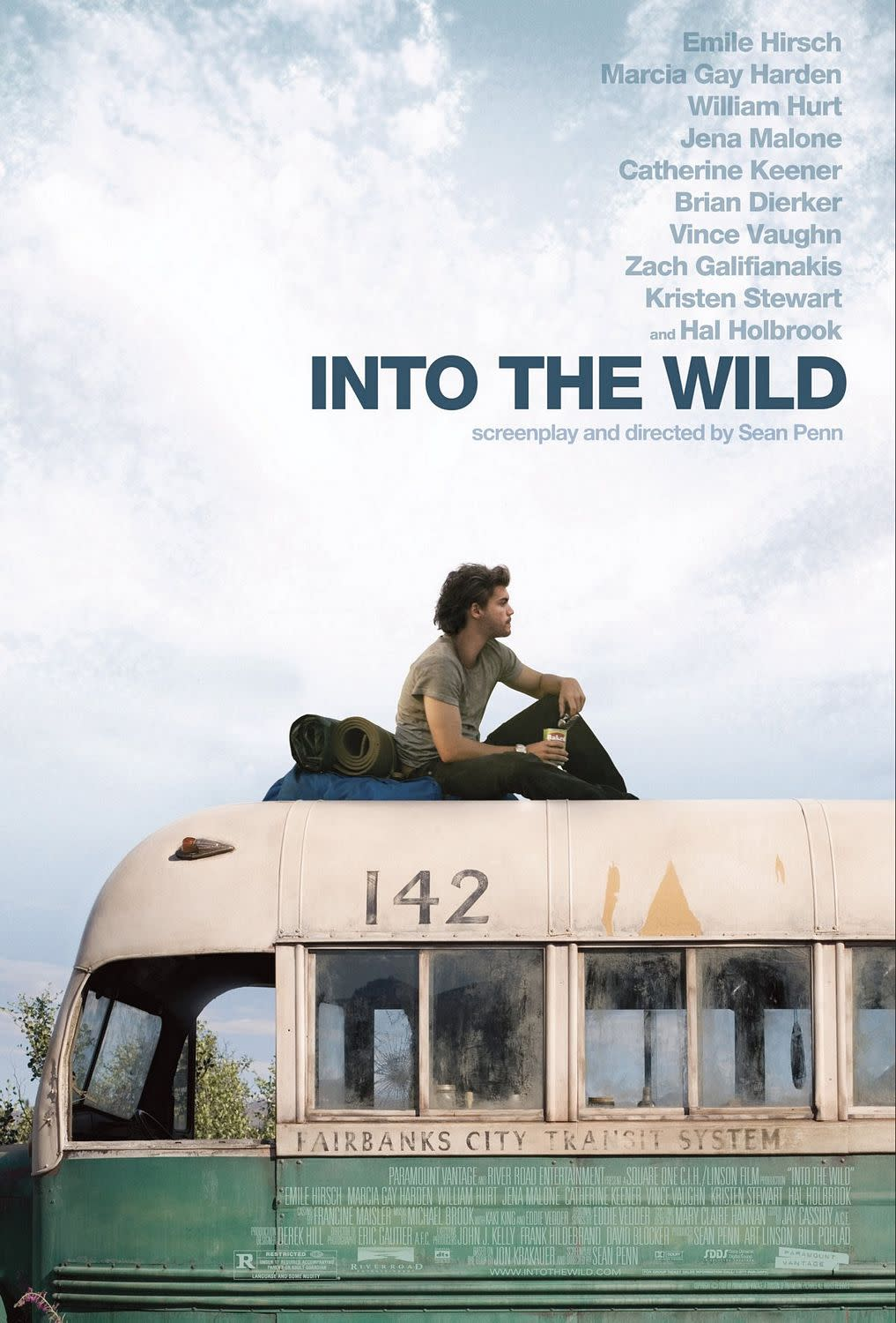 The poster for <i>Into The Wild</i> featuring Emile Hirsch sat atop the bus. (Paramount Vantage)