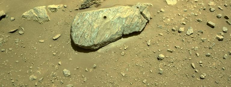 The drill hole from Perseverance's sample collection is seen in an image taken on September 1, 2021 (AFP/Handout)