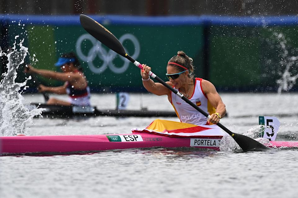 Spain's Teresa Portela competes in the heat for the women's kayak single 200m event during the Tokyo 2020 Olympic Games at Sea Forest Waterway in Tokyo on August 2, 2021. (Photo by Philip FONG / AFP) (Photo by PHILIP FONG/AFP via Getty Images)