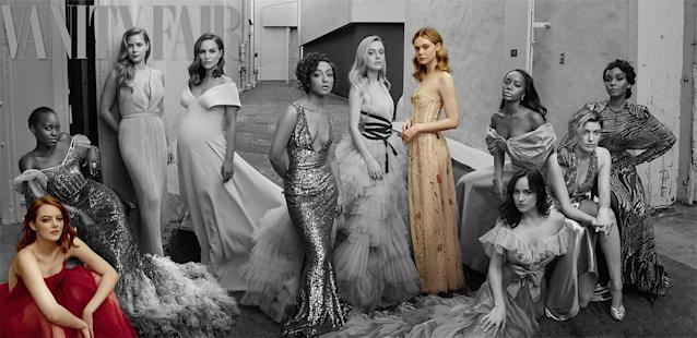 <p>Actresses Elle Fanning and Emma Stone wore versions of the Dior ready-to-wear gown on the cover of <em>Vanity Fair</em>'s 2017 Hollywood issue. (Photo: Vanity Fair) </p>