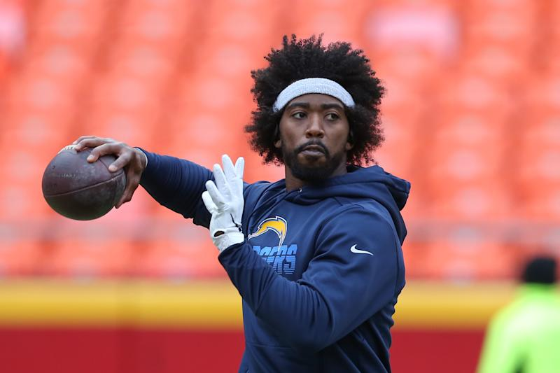 Tyrod Taylor is reportedly the man for the Chargers -- for now. (Scott Winters/Icon Sportswire via Getty Images)