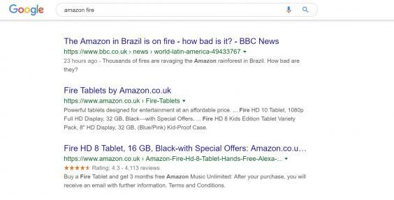 Two of the top three Google results for 'amazon fire' show devices from the tech giant (Screen grab)