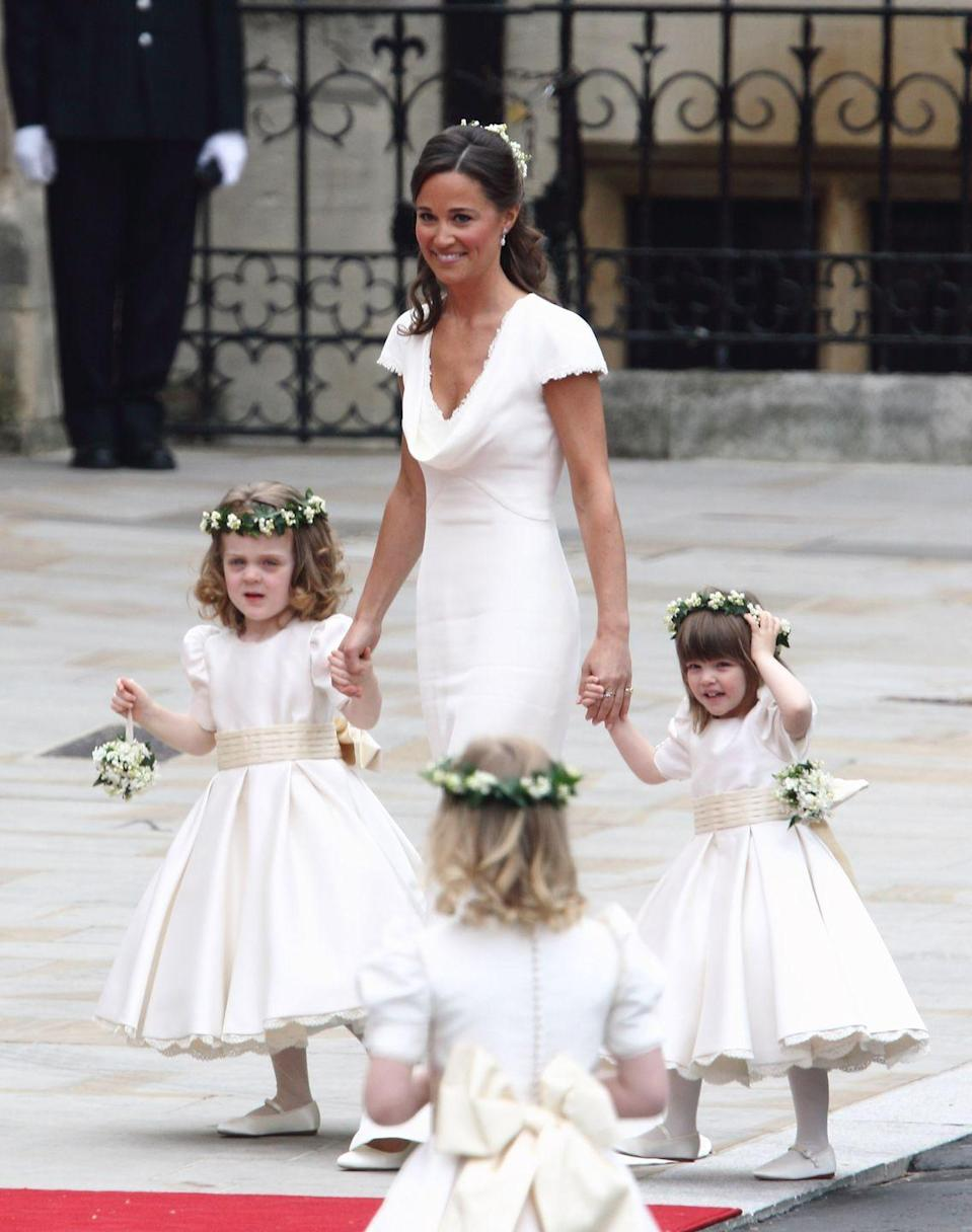 <p>Another royal-approved idea that works well in real life: flower crowns. The ones Kate's bridal party wore were an homage to the flower crown her mother Carole wore at her own wedding. </p>