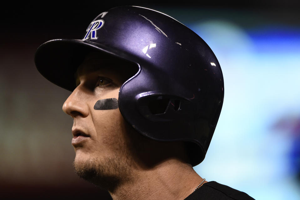 DENVER, CO - JULY 21: Troy Tulowitzki (2) of the Colorado Rockies reacts to hitting into a double play in the eight inning against the Texas Rangers during an inter league showdown. The Colorado Rockies hosted the Texas Rangers at Coors Field on Tuesday, July 21, 2015. (Photo by AAron Ontiveroz/The Denver Post via Getty Images)